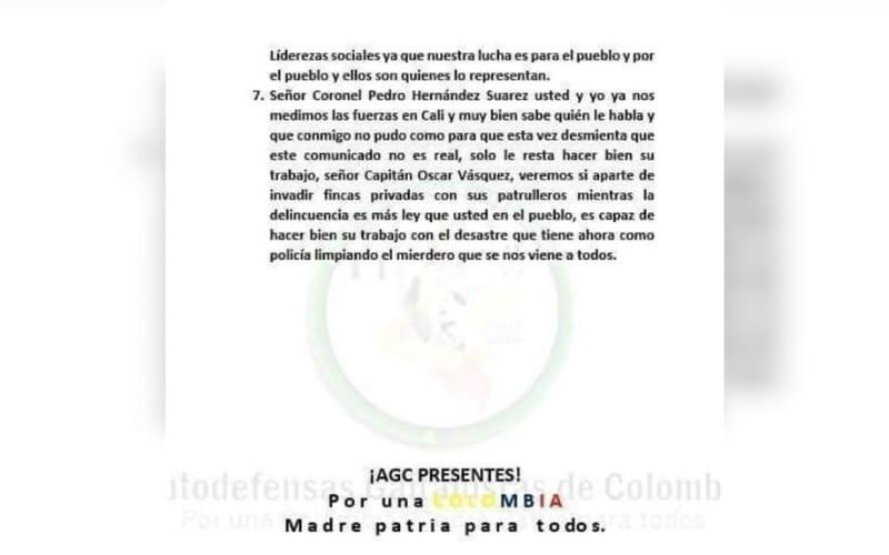 Los panfletos en Cimitarra son falsos