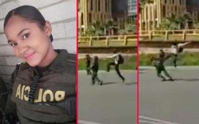 Mujer del Esmad recibió 'patada voladora' en Medellín